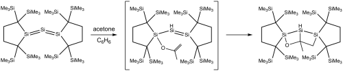small resolution of reaction of trisilaallene with acetone png