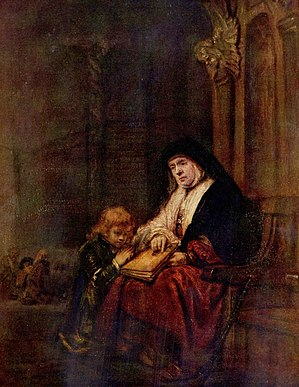 Rembrandt's Timothy and his grandmother, 1648.