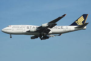 English: Singapore Airlines Boeing 747-412 (9V...