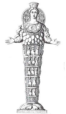 Synthesizing Artemis of Ephesus: an 18th-century engraving of a Roman marble copy of a Greek replica of a lost Geometric period xoanon.