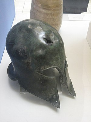 Corinthian-type helmet, the damage on which mi...