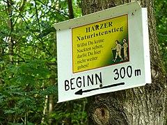 Der Harzer Naturistenstieg, Beginn nach 300 Metern