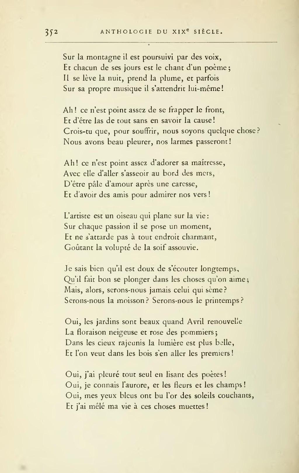 Poème D'amour Du 19ème Siècle : poème, d'amour, 19ème, siècle, Page:Lemerre, Anthologie, Poètes, Français, XIXème, Siècle,, 1888.djvu/376, Wikisource