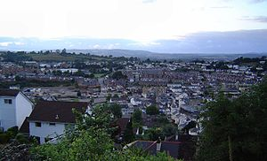 View over central Newton Abbot, Devon, UK - ta...