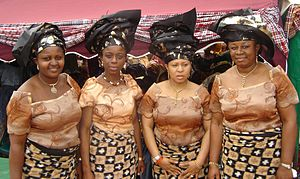 Women at a Nigerian traditional coronation cer...