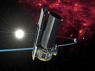 Ilustrasi teleskop Spitzer di orbitnya (Sumber: Spitzer earth trailing2, WIkipedia/NASA)
