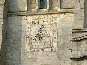 Sun Dial. Up on Market Harborough Church Tower