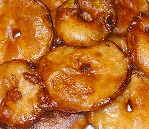 Apple fritters made with cider batter