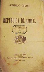 Primera página del Código Civil de Chile, primera edición de 1856.