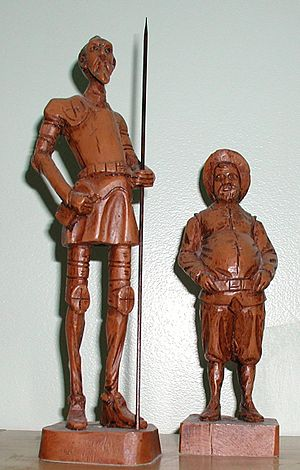 Statues of Don Quixote (left) and Sancho Panza...