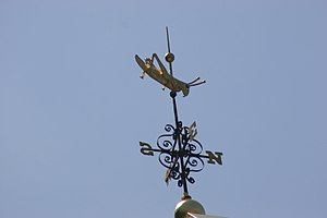 Gilded grasshopper weathervane on Faneuil Hall...