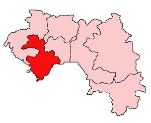 English: Map of Guinea showing Kindia Region. ...