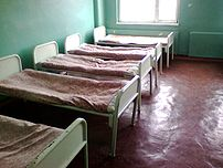 Hospital beds in the hospital empty chamber. Kharkov, Ukraine.
