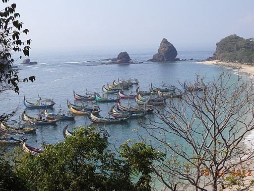 Pasir Putih Beach at Jember, East Java seen from Mountain
