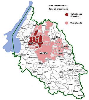 Italiano: Zona di produzione del vino Valpolic...