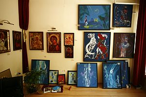Photographs from a gallery in Skopje, Macedoni...