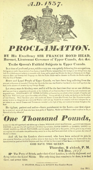 English: 1837 Proclamation for the arrest of W...