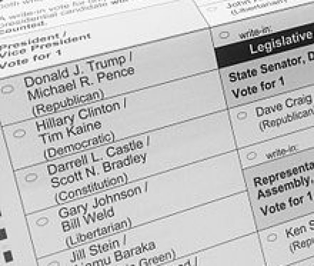 A 2016 General Election Ballot Listing The Presidential And Vice Presidential Candidates