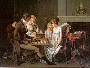 "Painting of a family game of checkers (""j..."