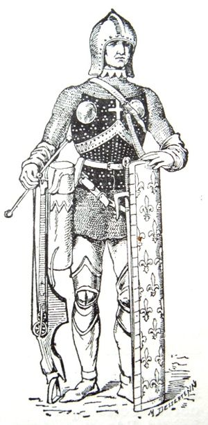15th century French soldier carrying an arbale...