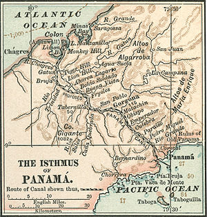 English: map of Panama Canal area before const...