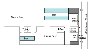 A color digital illustration of the layout of the Stonewall Inn in 1969: a rectangular building with the front along Christopher Street; the entrance opens to a lobby where patrons could go to the larger part of the bar to the right that also featured a larger dance floor. From that room was an entrance to a smaller room with a smaller dance floor and smaller bar. The toilets are located near the rear of the building