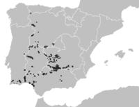 Mapa de distribuição do Lince ibérico - 1960 (em cima), 2003 (em baixo).