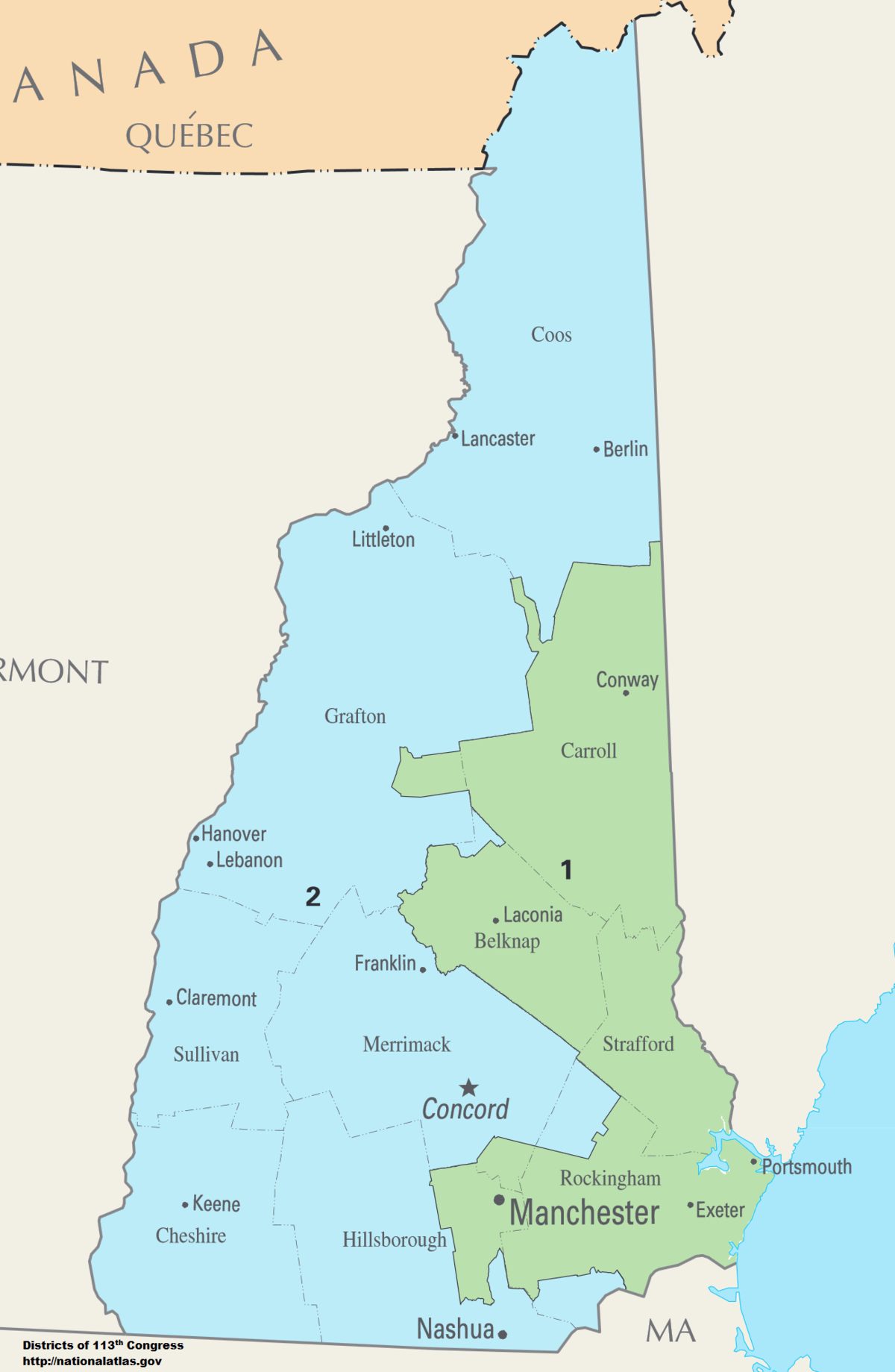 New Hampshire S Congressional Districts