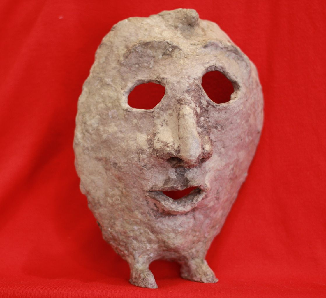 File Paper Mache Mask With Feet Front View With Red