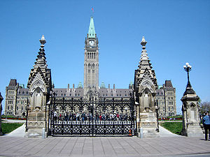 The entrance to Canada's Parliament Hill in Ot...