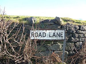 English: Road Lane, Healey near Rochdale. A la...