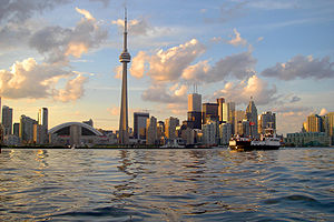 View of Toronto skyline from Toronto Harbour. ...