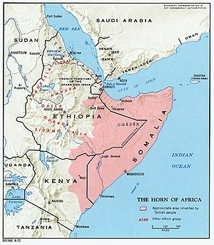 Map showing the distribution of the Afro-Asiat...