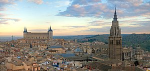 Panorama of the Toledo skyline in Spain, at su...