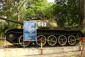 Vietnamese T-54A or Type 59 tank at the Reunification Palace in Ho Chi Minh City, Vietnam.jpg