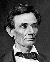 Head shot of older, clean shaven Lincoln