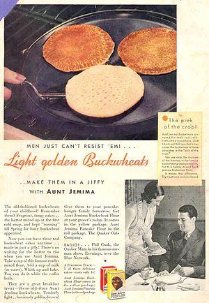 1932 advertisement for Aunt Jemima Pancake Mix...