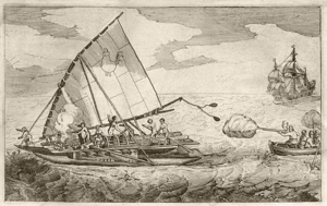 English: The Dutch ship De Eendracht attacks a...