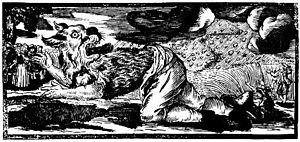 Werewolf Woodcut, German, 1722