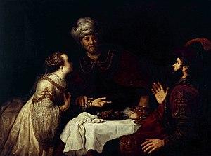 Jan Victors - Esther en Haman voor Ahasverus