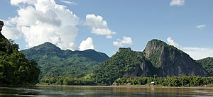 A view of the Mekong River at Luang Prabang in...