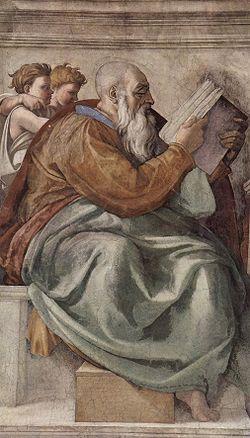 Il profeta Zaccaria dipinto da Michelangelo nella volta della Cappella Sistina