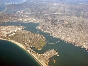 View of Coronado and San Diego from the air.
