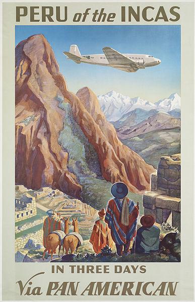 Vintage travel posters inspiring tourism to Peru and the Incas South America