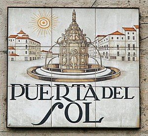 English: Sign of Puerta del Sol (square) in Ma...