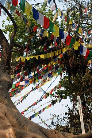 "English: Prayer flags and an inscription ""..."