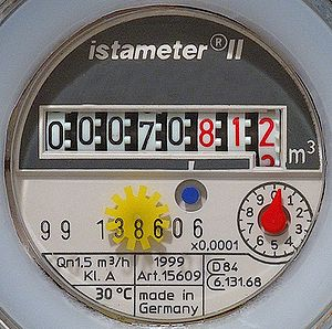 This image shows a detail of a Water meter. De...