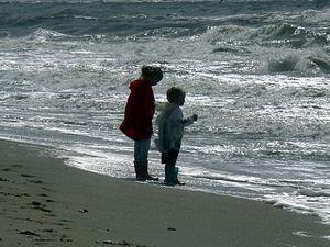 Zandvoort Beach. Children at the sea.