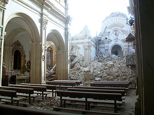 English: St. James church in Lorca, destroyed ...