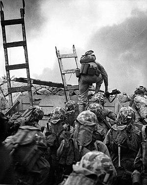 US Marine lieutenant Baldomero Lopez scaling t...